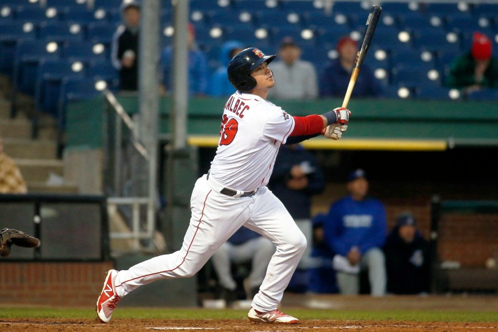 Boston Red Sox prospect Bobby Dalbec, 23, a 6-foot-4, 225-pound corner infielder, has 14 home runs for the Sea Dogs this season, second-most in the Eastern League.