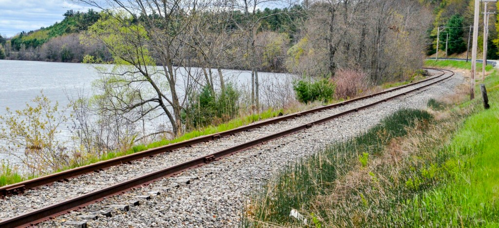 The railroad tracks along Kennebec River in South Gardiner. The Maine Department of Transportation has been awarded nearly $17.5 million for infrastructure upgrades and rail crossing improvements.