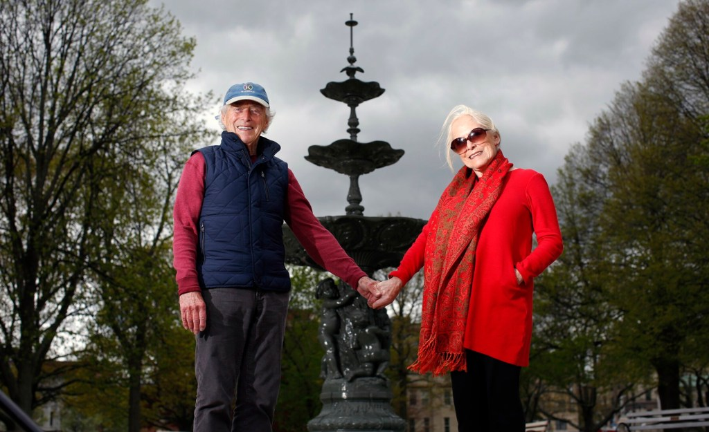 Frank and Sharon Reilly pose for a portrait Friday in front of the fountain within Portland's historic Lincoln Park. The couple raised significant funding for the park.