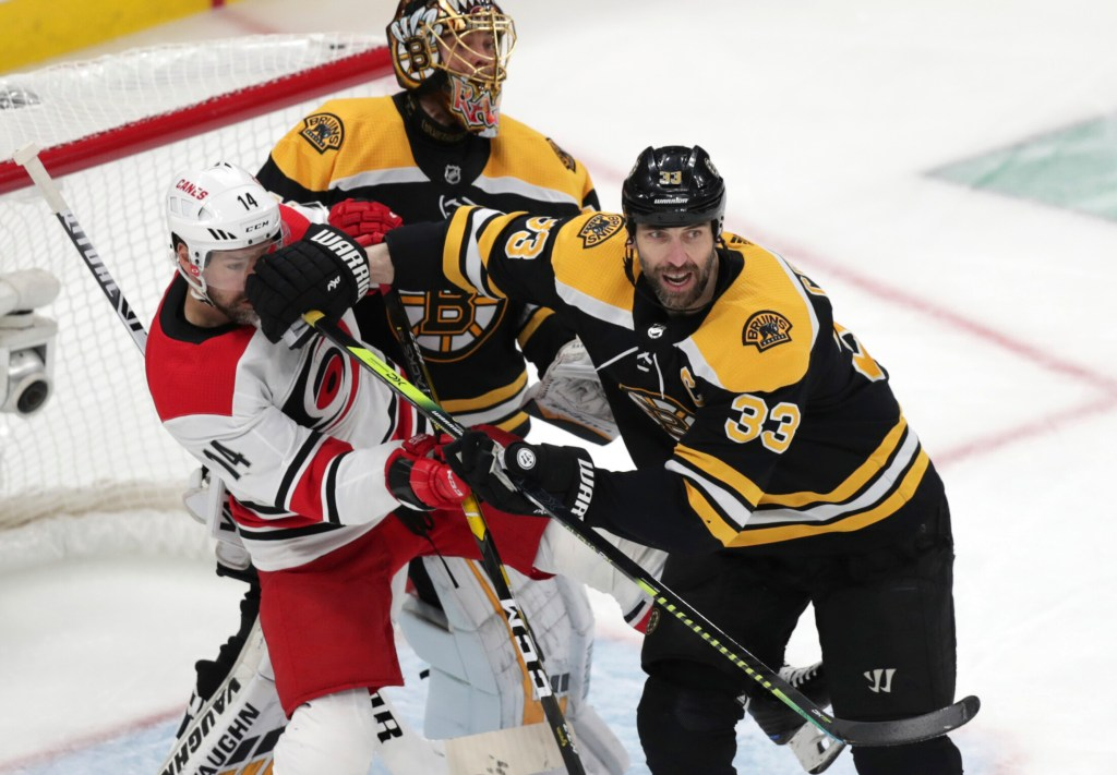 Bruins defenseman Zdeno Chara, 33, who sat out Game 4 of the Eastern Conference finals, did not practice on Sunday.