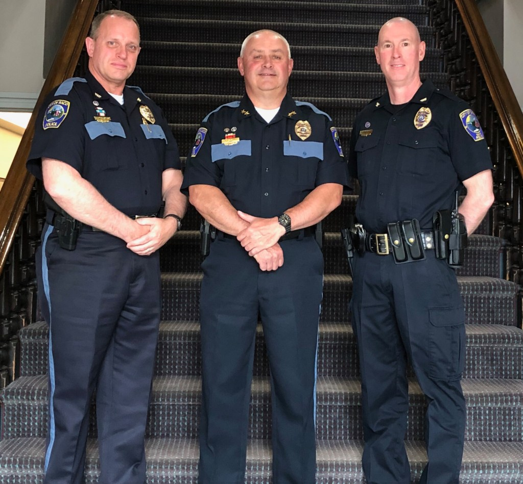 Left to Right, Saco Deputy Chief Corey Huntress, Chief Raynald Demers, and Deputy Chief Jack Clements. Demers has announced his retirement, and Clements will lead the department on an interim basis.