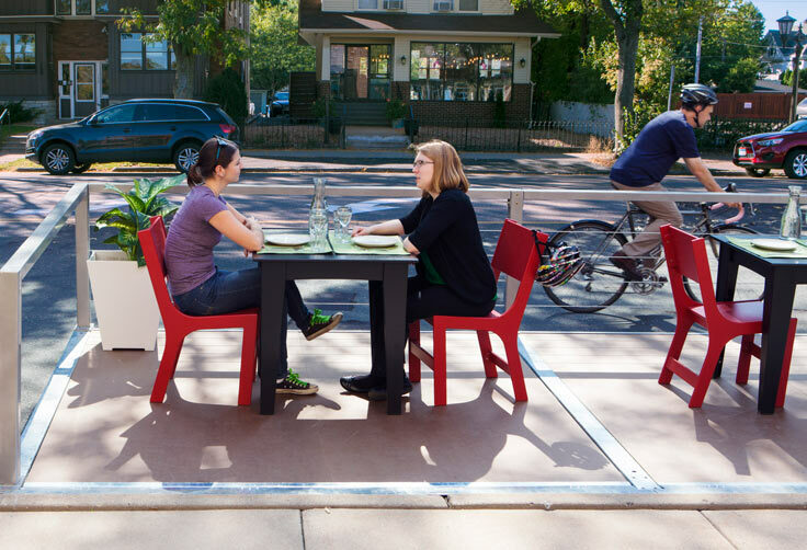 """""""Parklets"""" like this one – a parking space turned into a outdoor dining area – may soon be appearing outside five Portland restaurants as part of a pilot program."""