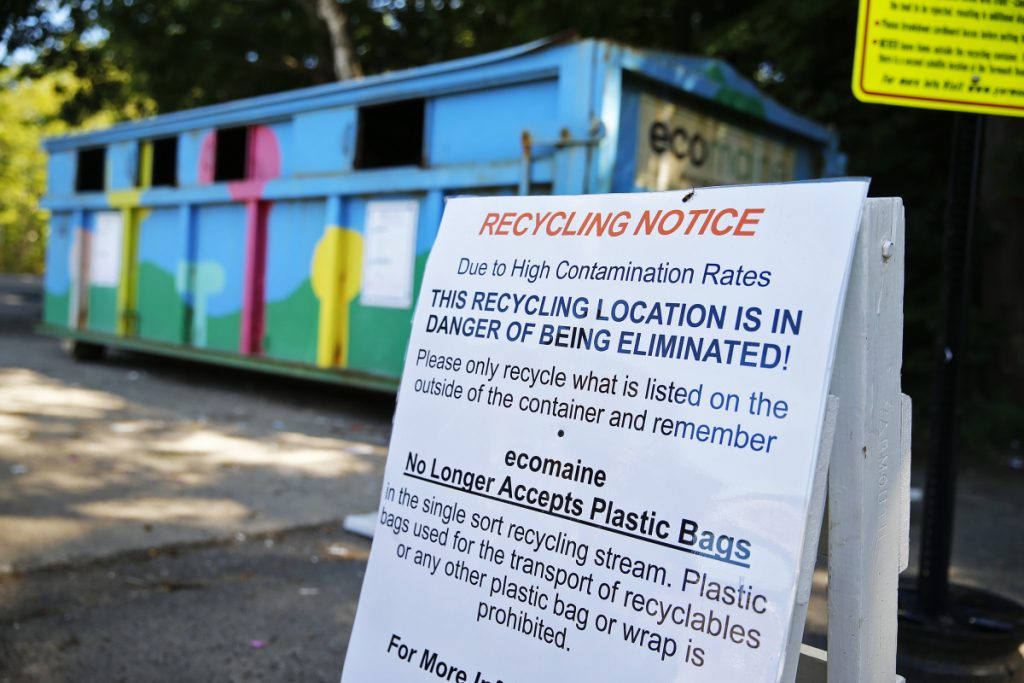 A sign posted by ecomaine in Yarmouth last summer warns residents about the high contamination rates in the town's recycling, suggesting that this dropoff location could be in jeopardy of being eliminated.