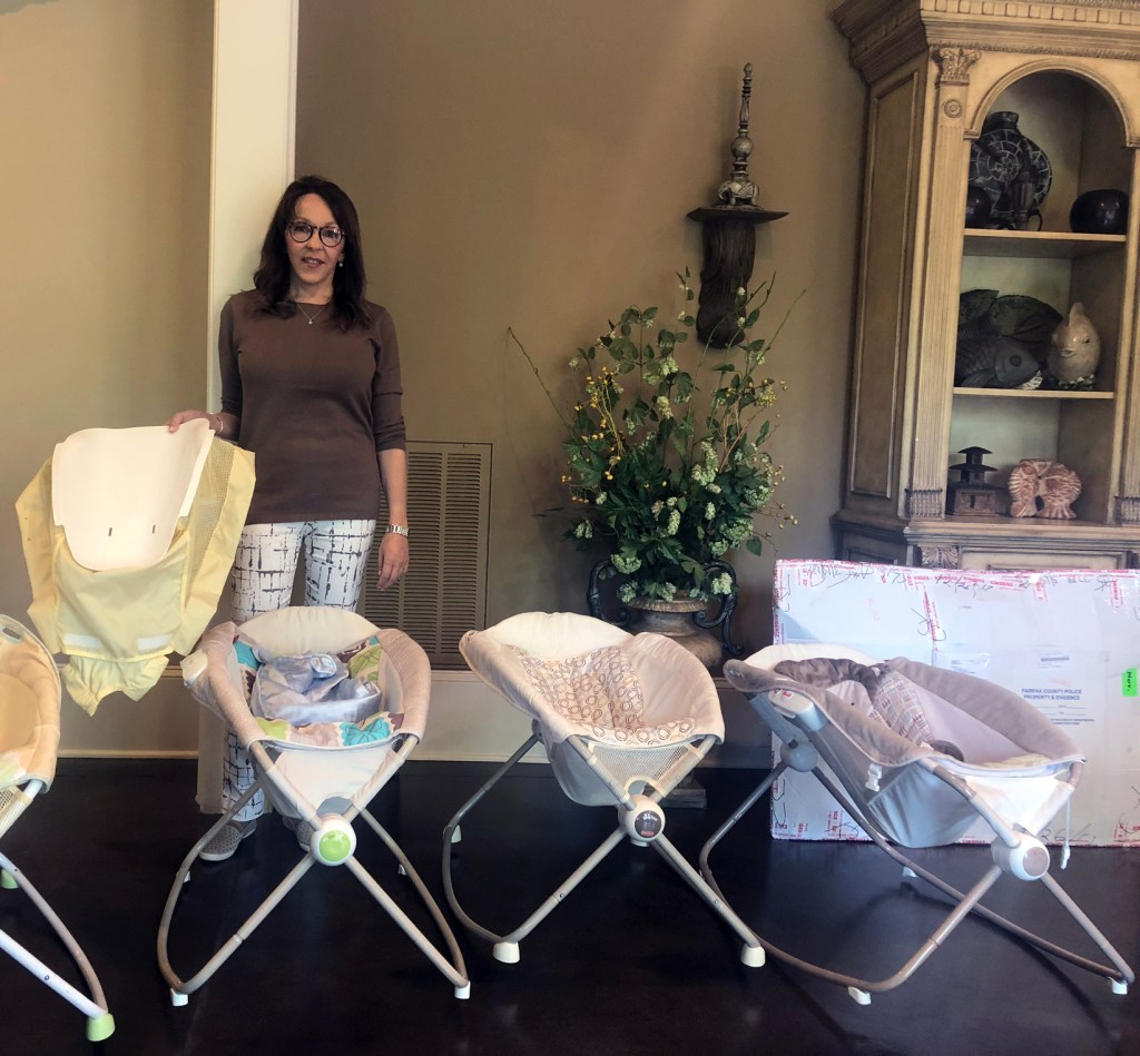 Jan Hinson, an attorney in Greenville, S.C., has a collection of Fisher-Price Rock 'n Play sleepers in her office. In 2014, she discovered her 7-week grandson blue and lifeless in an inclined sleeper, she said. He survived.