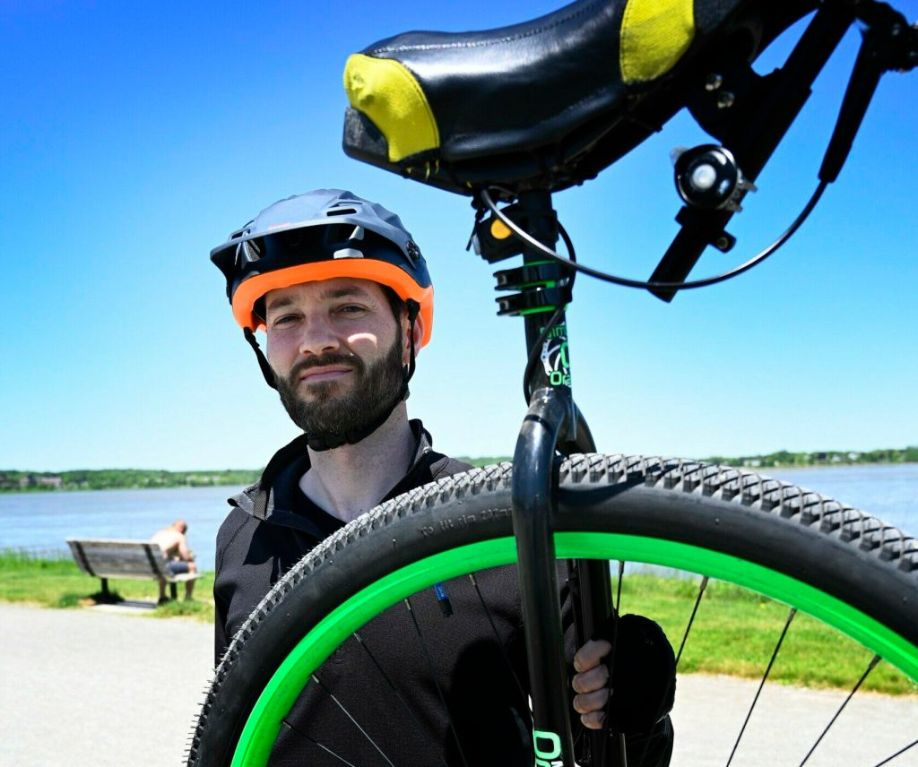 Hugh Sharp is the first person to ride the 180-mile Trek Across Maine on a unicycle.