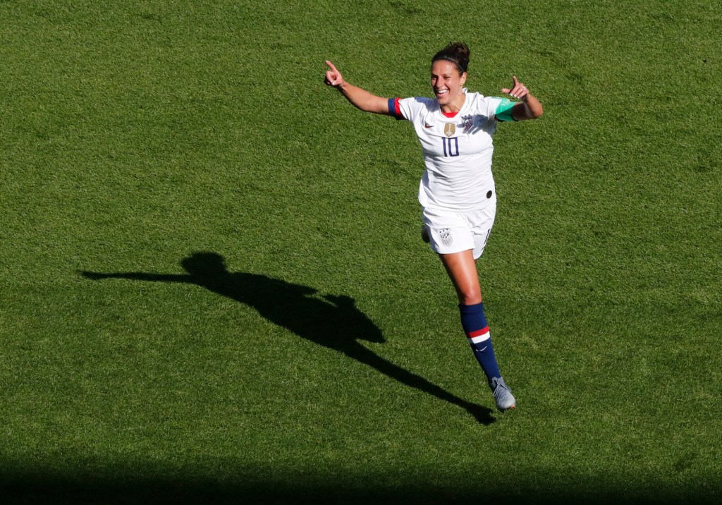 Carli Lloyd celebrates after scoring the in the U.S. women's soccer team's 3-0 win over Chile in a first-round game at the World Cup on Sunday in Paris.