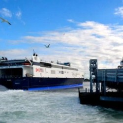 High-speed ferry moving from Portland to Bar Harbor