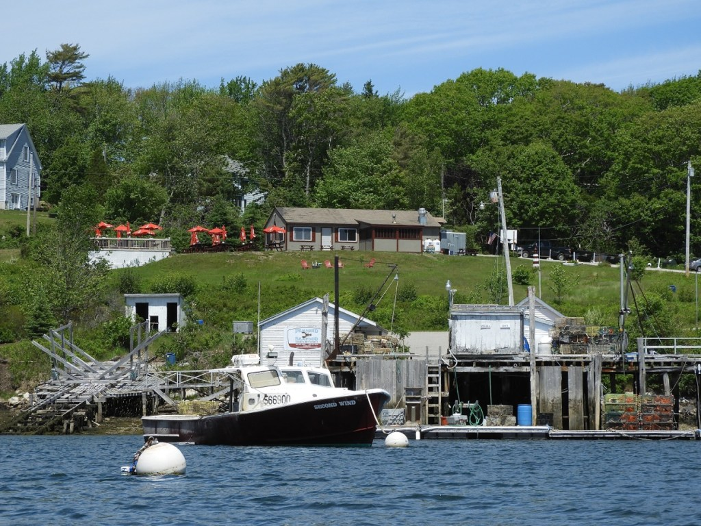 A canoe's eye view of Pemaquid Harbor wharf in Bristol.