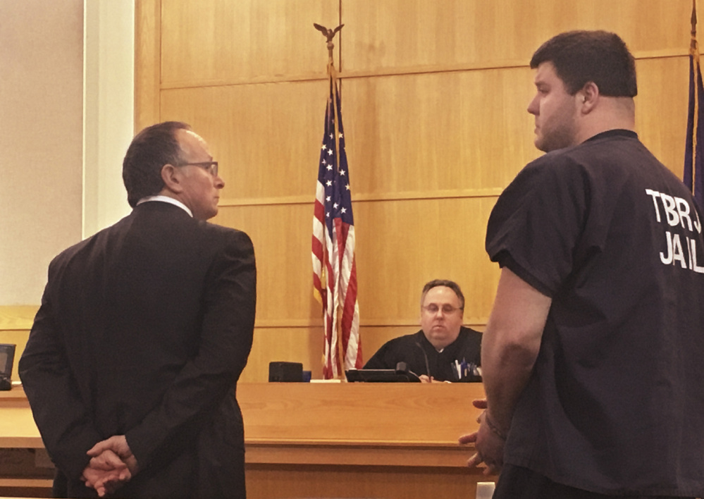 Dylan Grubbs, shown in court with his attorney, David Paris, in 2016, has been ordered to serve 24 months of a suspended sentence for violating his probation stemming from the fatal shooting of his fiancee.