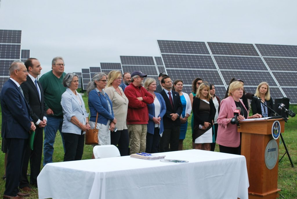 On Wednesday Gov. Janet Mills signed into law new initiatives to  expand solar power and clean energy in Maine. The bill signing ceremony was held in front of solar panels at Pittsfield Solar, a subsidiary of Cianbro Corp.