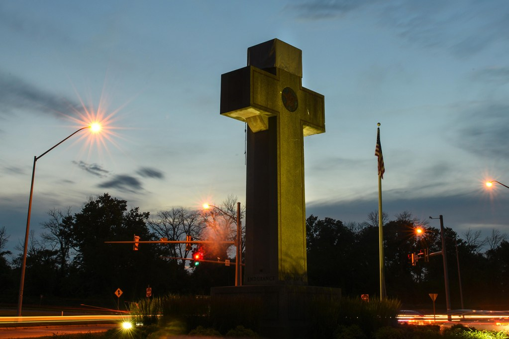 """The """"Peace Cross,"""" the focus of an intense court case regarding its upkeep and placement on public land, stands at a busy intersection in Bladensburg, Md."""