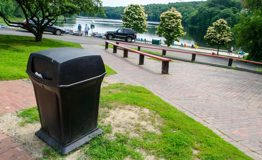 This photo, taken Tuesday, shows a trash can above Granite City Park near the Harlow Gallery on corner of Winthrop and Water streets in Hallowell. There isn't one closer to the Kennebec River down by the bulkhead.