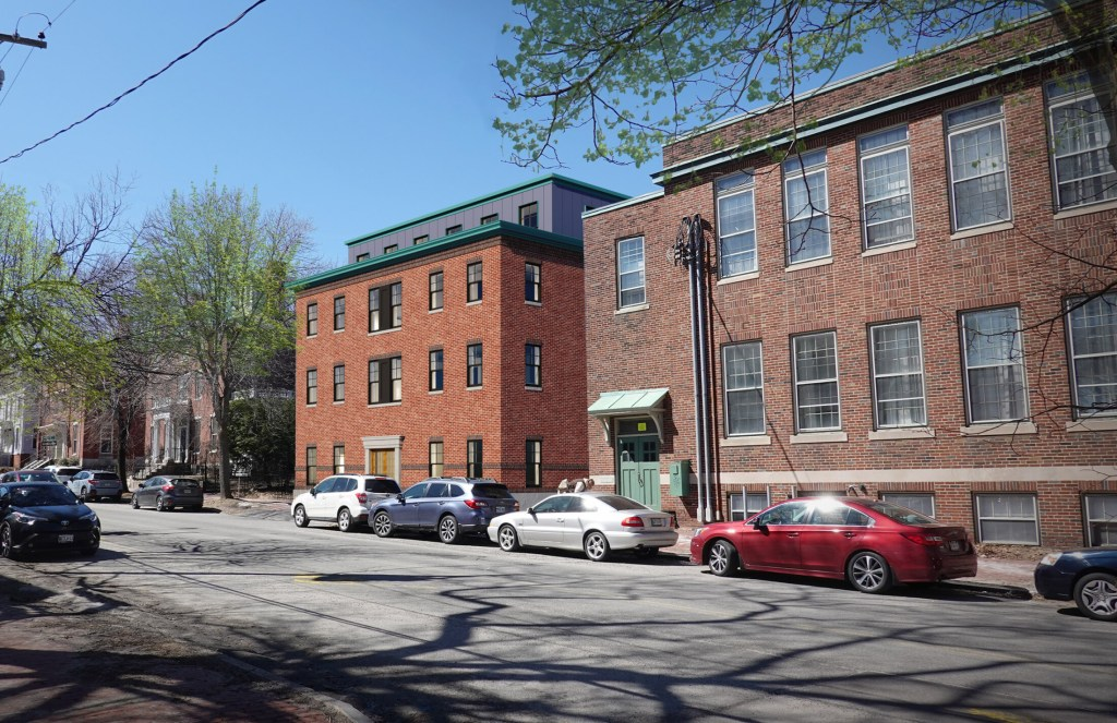 A Portland developer is proposing converting the building at 66 State St., right, into a rooming house for women and adding affordable housing units in a new building next door. This artist's rendering shows the view from Danforth Street.