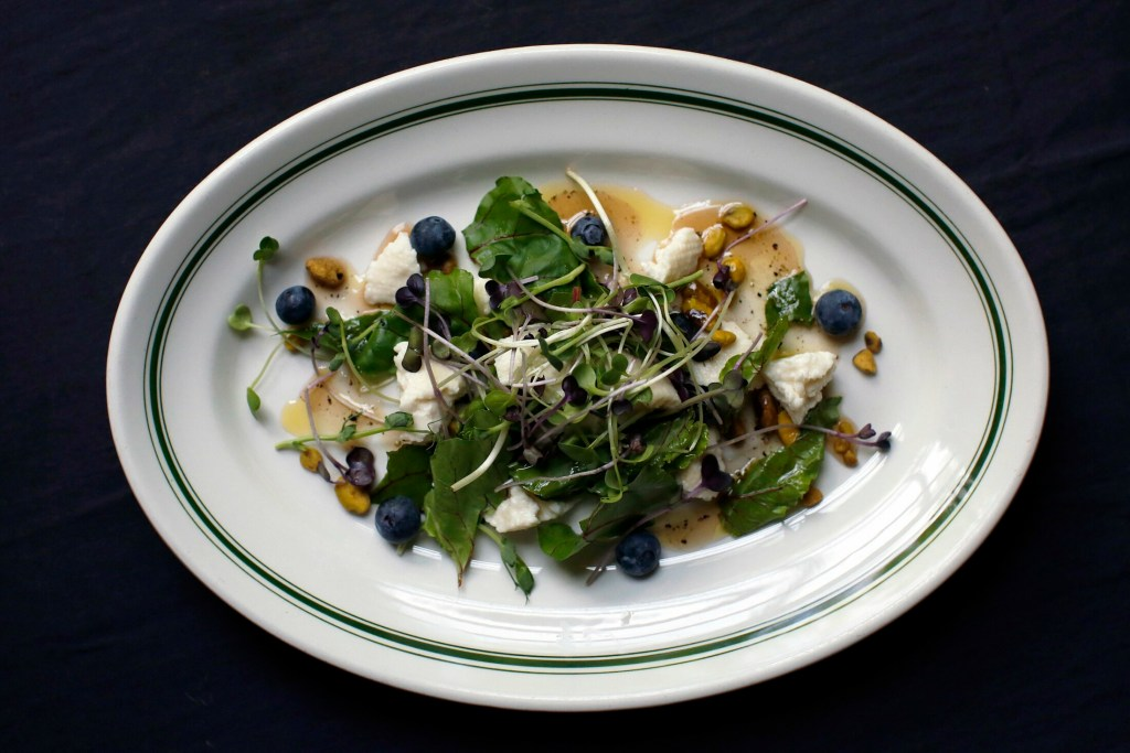 Goat Cheese and Blueberry Salad. Delicious, local goat cheeses abound in Maine – as do ideas for using them.