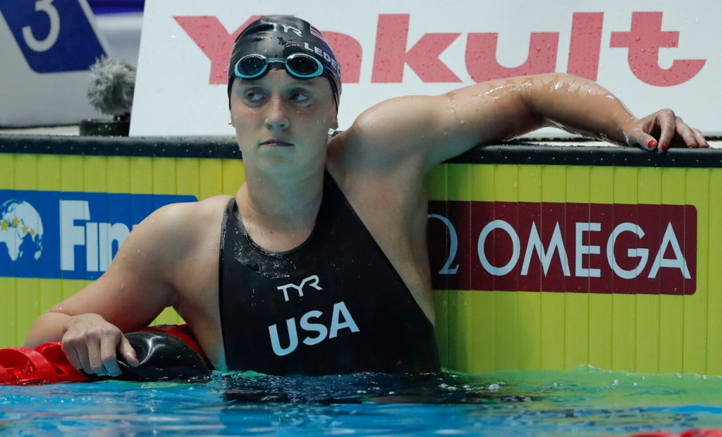 United States' Katie Ledecky, reacts after finishing second in the 400-meter freestyle at the world championships on Sunday in Gwangju, South Korea. Ledecky had won the world title in the 400 at the previous three championships.