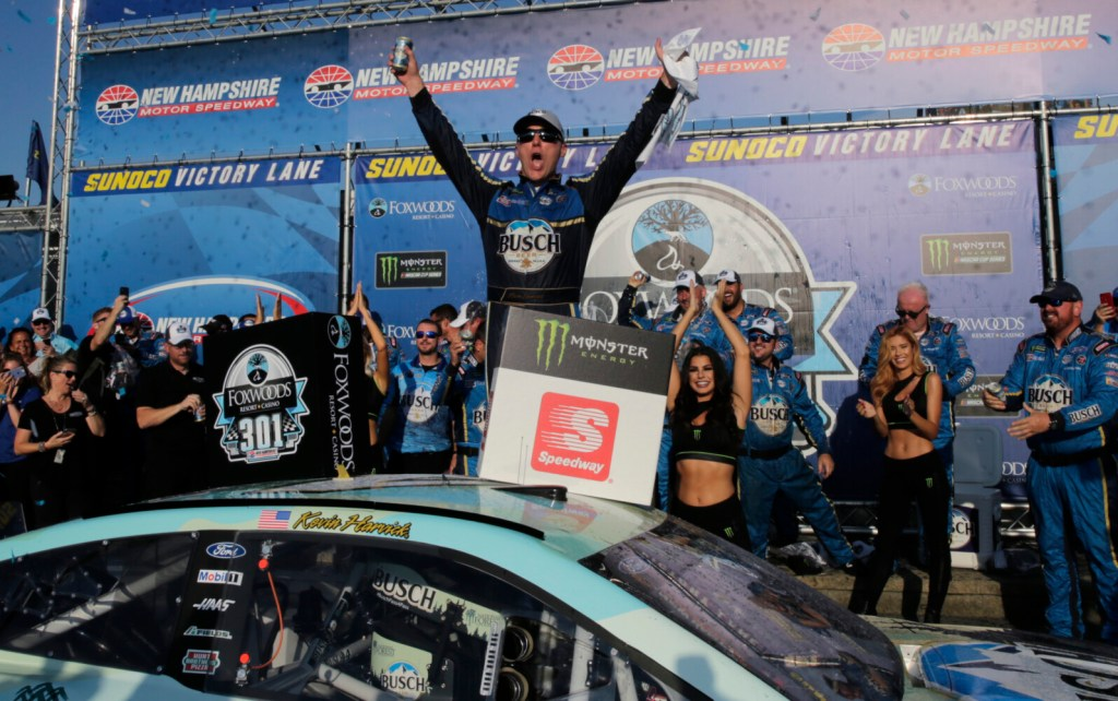 Kevin Harvick celebrates in victory lane after winning a NASCAR Cup Series race on Sunday at New Hampshire Motor Speedway in Loudon, N.H.