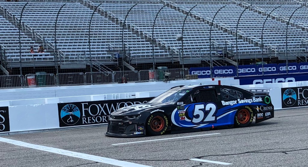 Austin Theriault brings his No. 52 Chevrolet to pit road during Monster Energy NASCAR Cup Series practice on Friday at New Hampshire Motor Speedway in Loudon, New Hampshire.