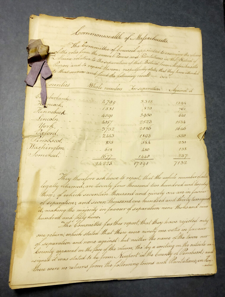 """An original copy of the """"committee report"""" that shows the statewide vote and the breakdowns by county for separating Maine from the Commonwealth of Massachusetts."""