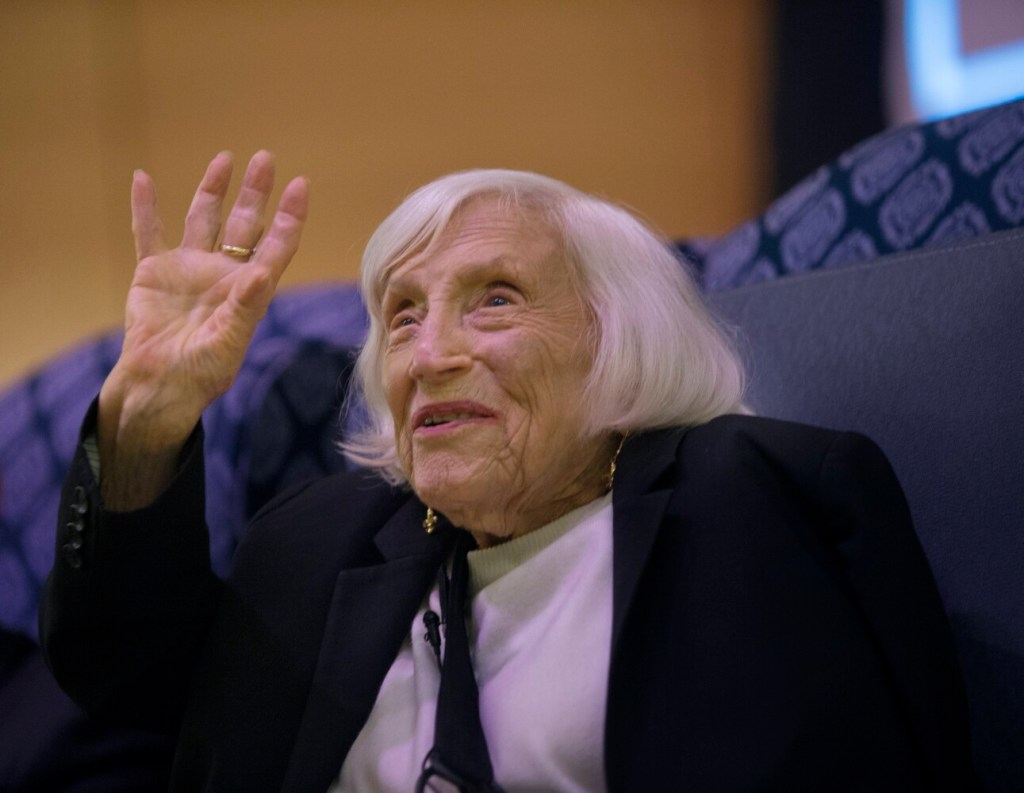 """Marthe Cohn, a 99-year-old author, former spy and Holocaust survivor, who wrote about her experiences in the book """"Behind Enemy Lines,"""" tells her story Wednesday at the University of Southern Maine's Hannaford Hall."""