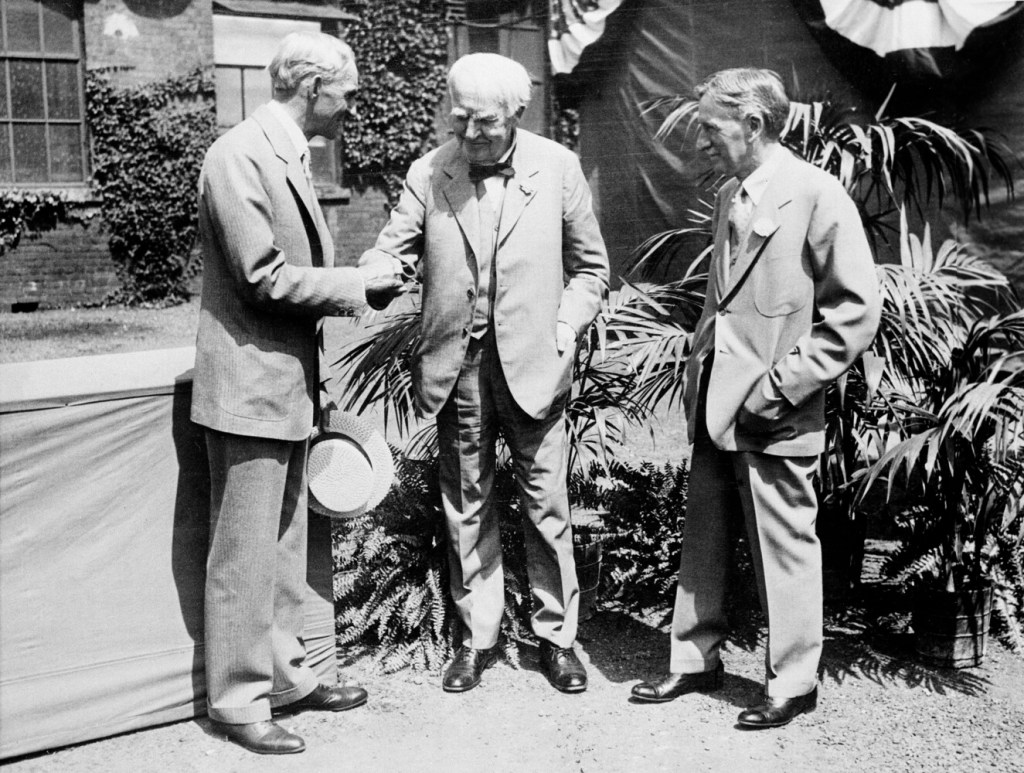 Henry Ford, left, with Thomas Edison, center, and Harvey Firestone.  Ford, who had a summer home on Mount Desert Island, had an abiding interest in soybeans, both for manufacturing and eating.