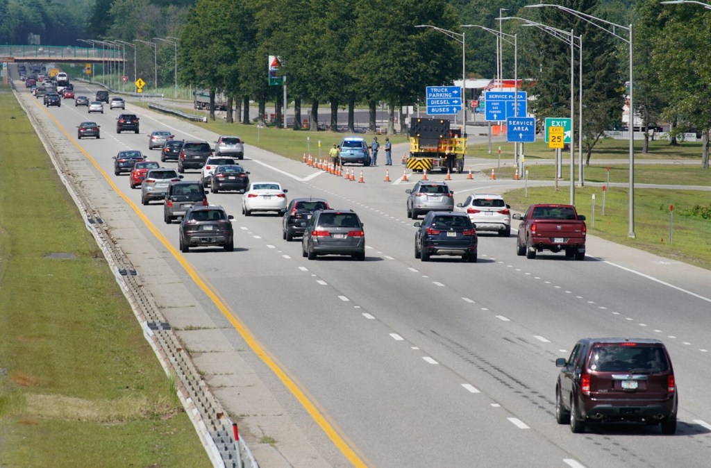 State police block traffic from exiting the Maine Turnpike into the northbound rest area in Kennebunk on Thursday as crews investigate a gas leak at the area.