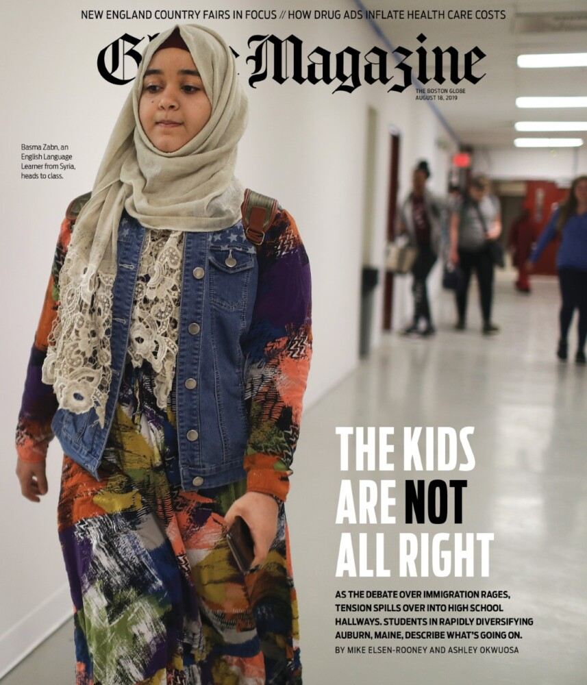 The cover of Sunday's Boston Globe Magazine featuring a photograph by the Globe's Pat Greenhouse at Edward Little High School.
