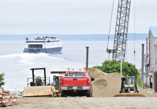 The Cat ferry, seen from the site of the Bar Harbor ferry terminal construction.