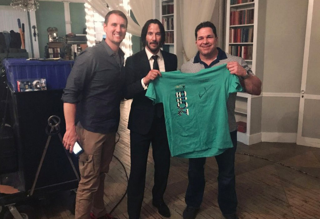 "Jim Klock, Keanu Reeves and David Decatur pose together on the set of ""John Wick: Chapter 3 - Parabellum."""