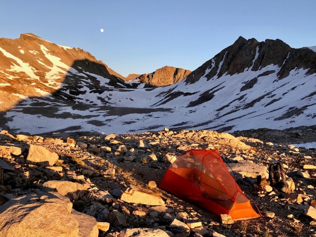 Columnist Carey Kish's camp at moonrise atop 11,969-foot Muir Pass in California. Kish is 1,700 miles and 4 1/2 months into hiking the Pacific Crest Trail.