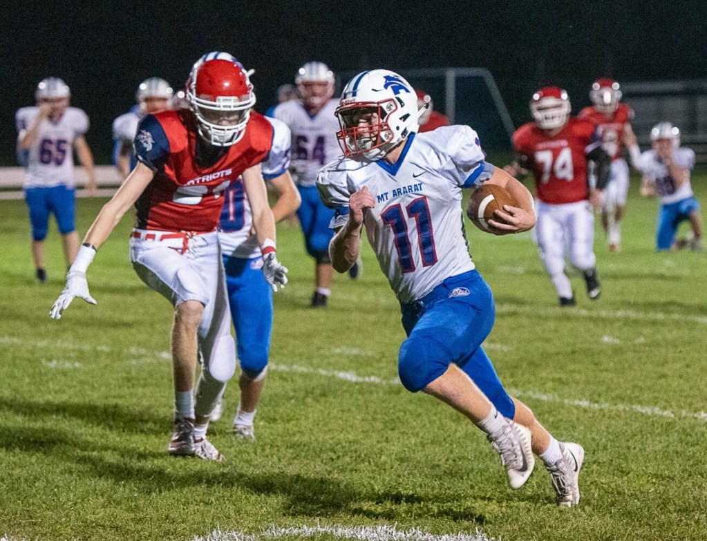 Mt. Ararat's Holden Brannan finds room to run during an eight-man game Friday against Gray-New Gloucester. Brannan rushed for 214 yards and scored four touchdowns in a 56-28 victory.