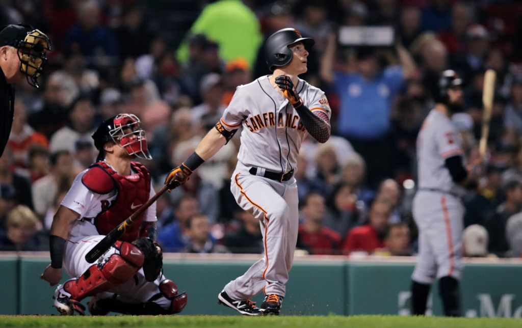 A kid named Yaz homered at Fenway Park on Tuesday night. No, not Carl, but his grandson Mike, who hit leadoff and played left field for the San Francisco Giants against the Boston Red Sox.