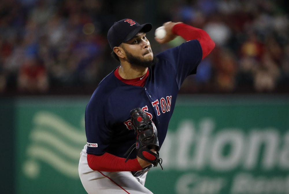 Boston Red Sox starting pitcher Eduardo Rodriguez throws to the Texas Rangers in the first inning of Tuesday's game in Arlington, Texas.
