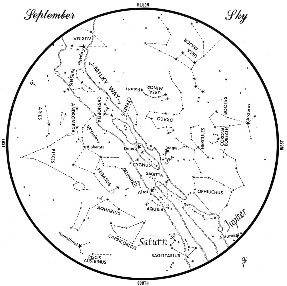 Sky chart prepared by George Ayers.