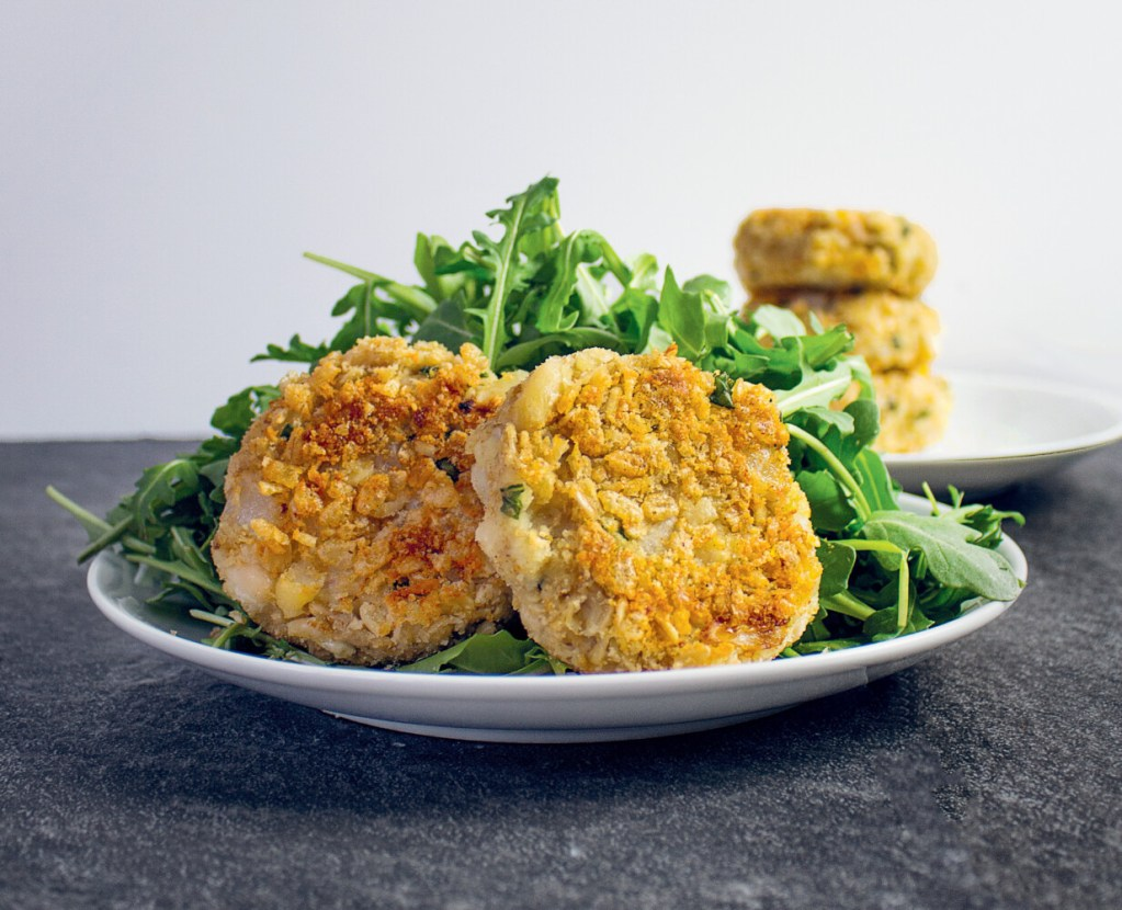 """White Bean & Basil Cakes from """"The Anti-inflammatory Kitchen Cookbook."""""""