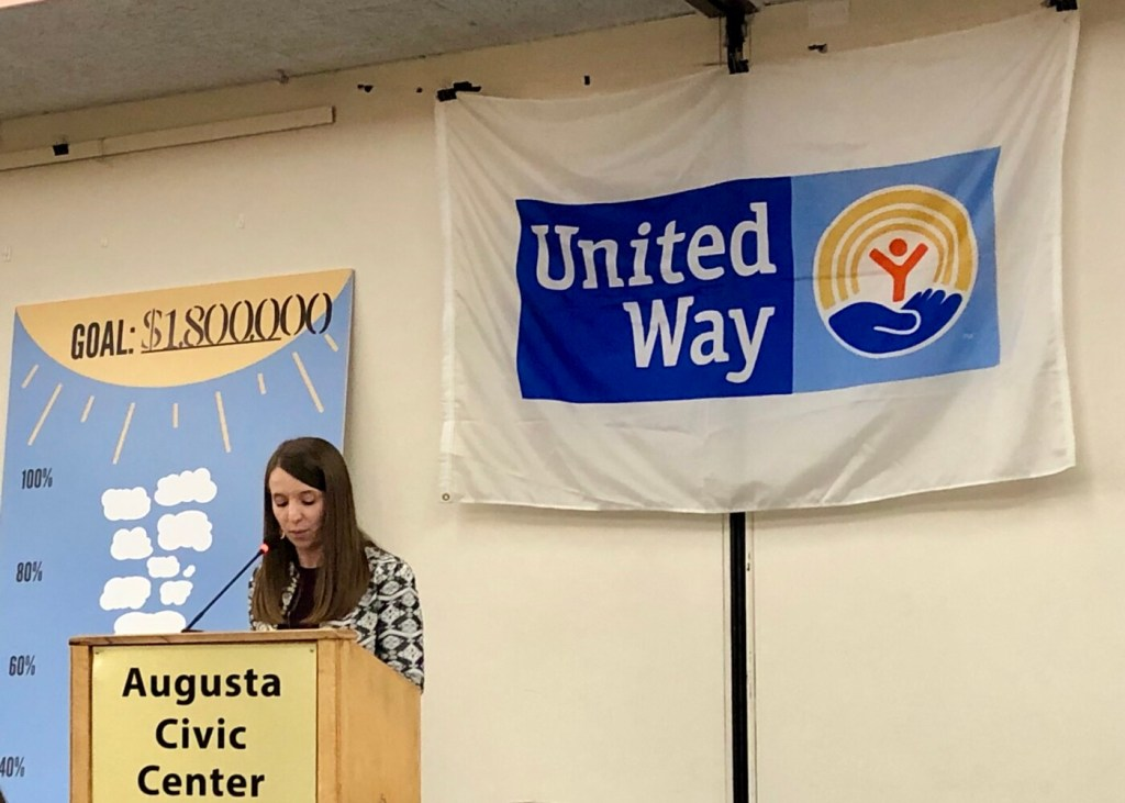 Courtney Yeager, executive director of United Way of Kennebec Valley,  addresses more than 300 attendees Thursday during the United Way's Campaign Kickoff Breakfast at the Augusta Civic Center.