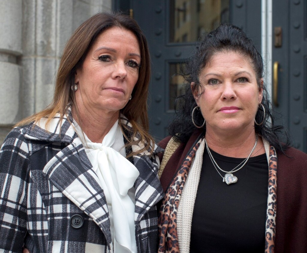 Susan Johnson, left, mother of Derrick Thompson, and Jocelyne Welch, mother of Alivia Welch, outside of the federal courthouse in Portland after their hearing on a summary judgement in their wrongful death suit against the city of Biddeford Wednesday.