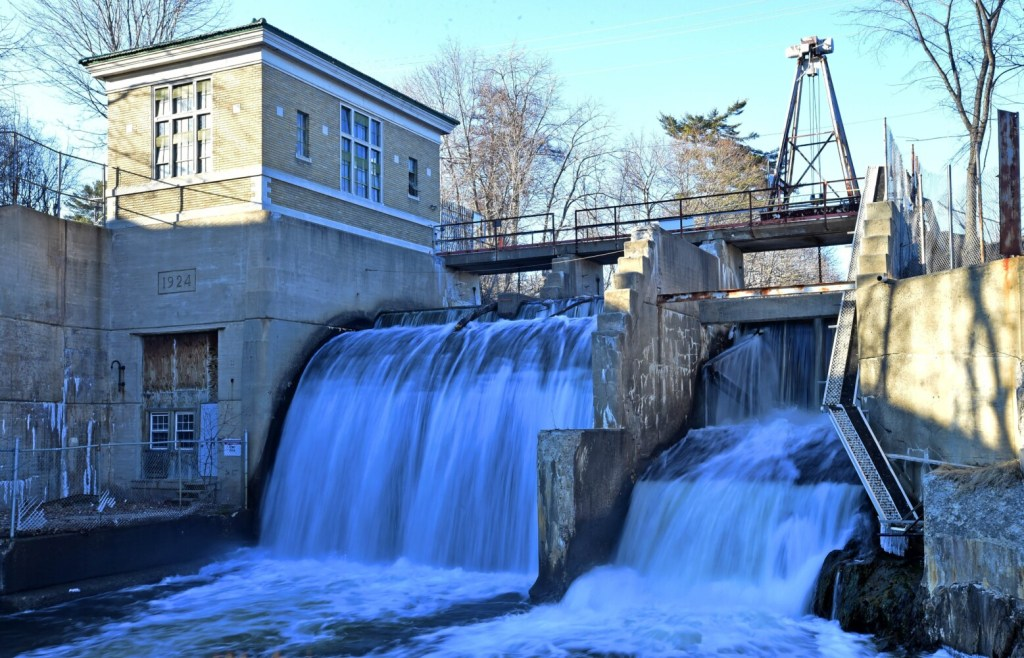 The hydroelectric facility located on the Messalonskee Stream between the Kennebec Water District's business office on Cool Street and its South Street facilities in Waterville on April 5, 2016. The district recently sold the facility.