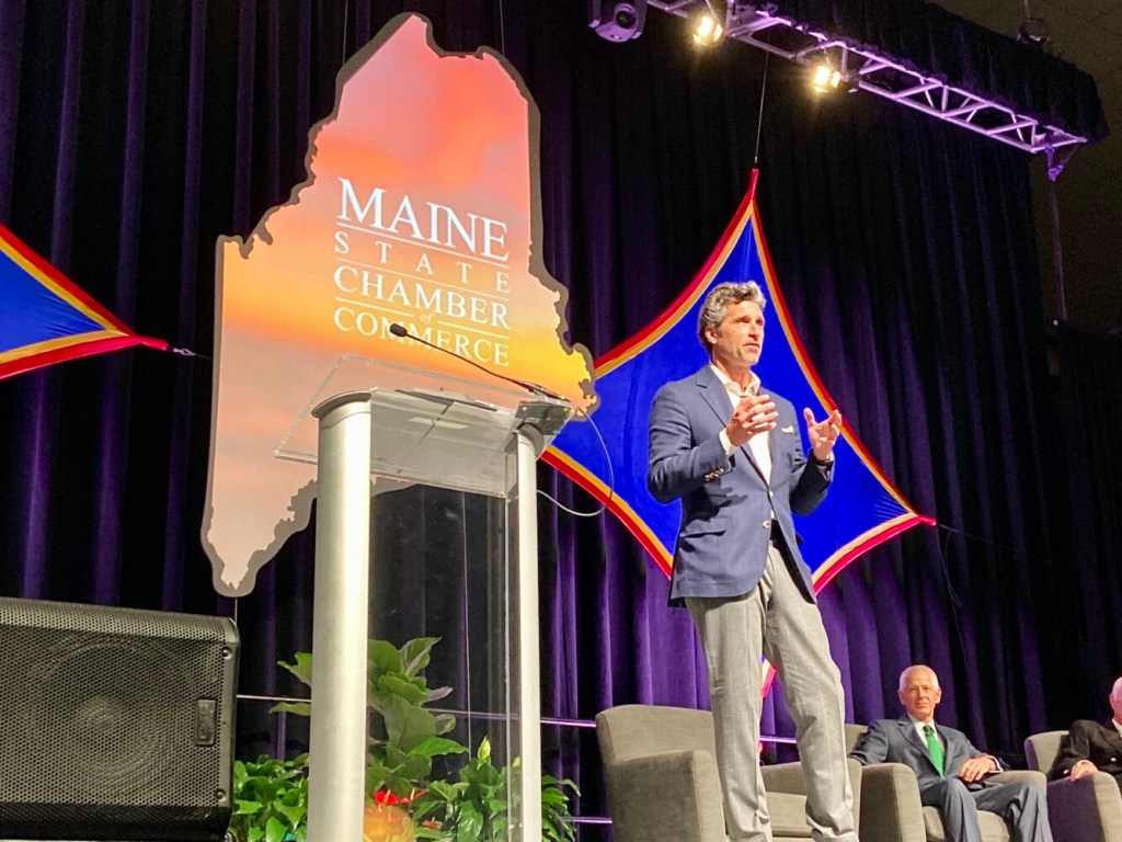 Actor Patrick Dempsey speaks Wednesday during the Maine State Chamber of Commerce's annual meeting and dinner at the Augusta Civic Center.