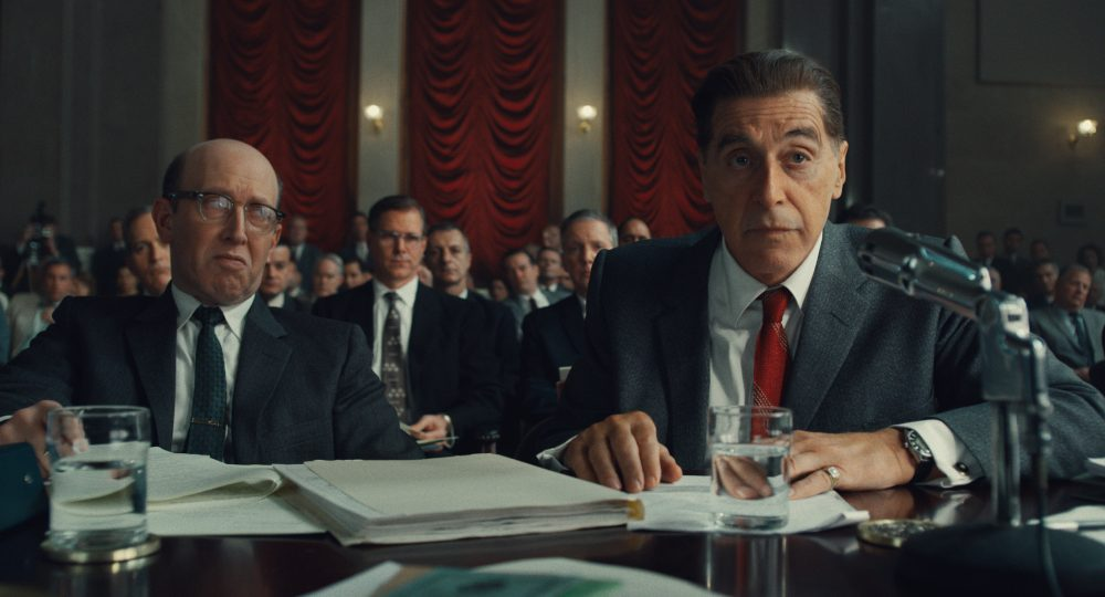 """This image released by Netflix shows Al Pacino, right, in a scene from """"The Irishman."""""""