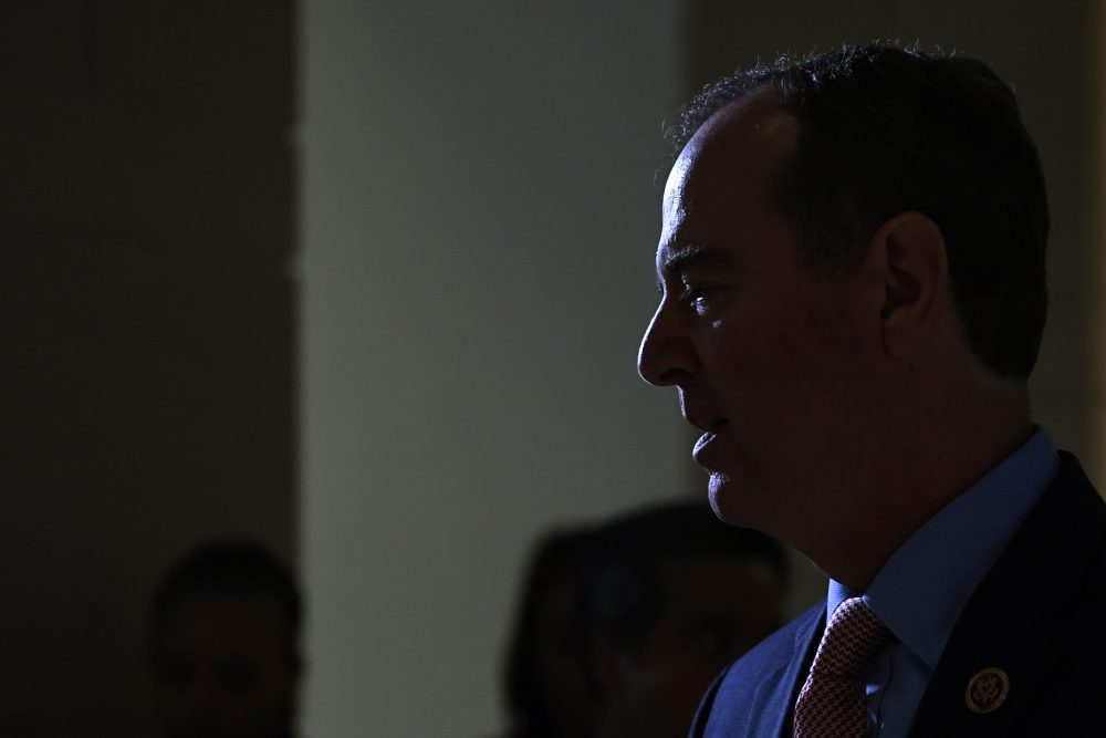 House Intelligence Committee Chairman Adam Schiff, D-Calif., talks with reporters on Capitol Hill in Washington, on Wednesday  about the House impeachment inquiry.