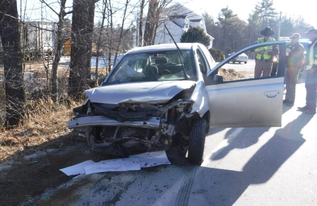 Two people were injured in a head-on crash in Gray on Thursday morning that involved a 2003 Toyota Echo that had been reported stolen in Auburn.