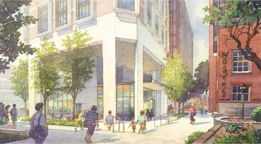 This artist's rendering shows the base of a high-rise being proposed by Tim Soley in Portland's Old Port.