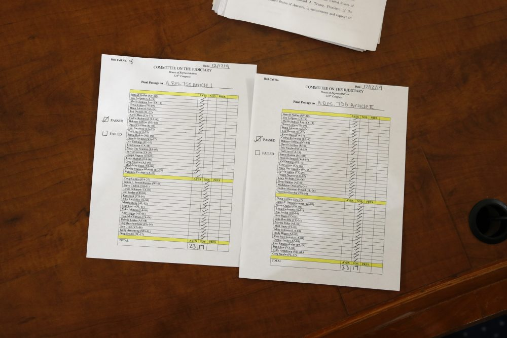 The roll call vote recorded by the clerk after the House Judiciary Committee approved the articles of impeachment against President Trump on Friday.