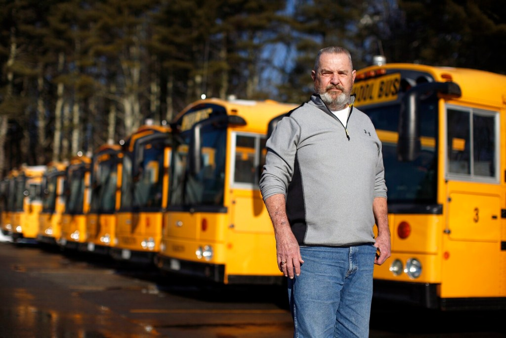 """Topper West,  transportation director for Falmouth schools, has expressed interest in e-buses to augment his 25-vehicle diesel fleet. Although he has some concerns about electric buses, he said, """"This seems like it may be the next thing to come down the pike."""""""