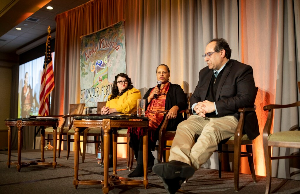 """Speakers Kate McMahon, state Rep. Rachel Talbot Ross of Portland and Darren Ranco lead a panel discussion based on Martin Luther King Jr.'s fourth and final published book, """"Where Do We Go From Here: Chaos or Community?"""" at Monday's dinner at the Holiday Inn by the Bay."""