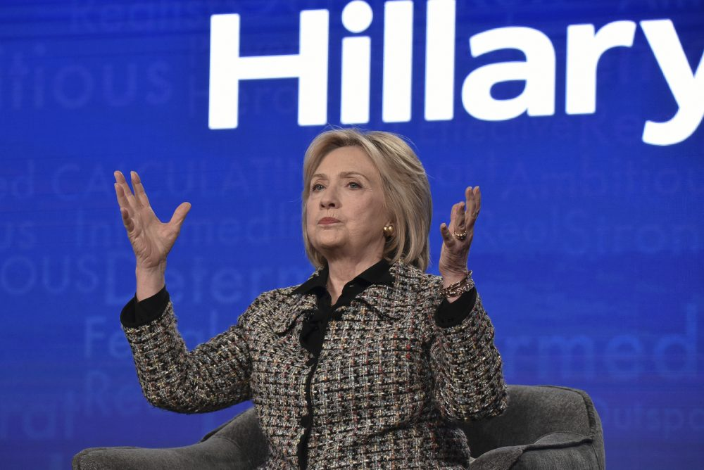 """Hillary Clinton participates in the Hulu """"Hillary"""" panel during the Winter 2020 Television Critics Association Press Tour, on Friday."""