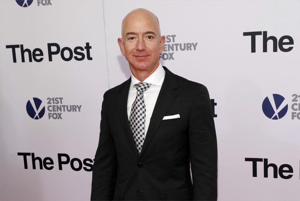 """In this Dec. 14, 2017, file photo, Jeff Bezos attends the premiere of """"The Post"""" at The Newseum in Washington. United Nations experts on Wednesday, Jan. 22, 2020 have called for """"immediate investigation"""" by the United States into information they received that suggests that Jeff Bezos' phone was hacked after receiving a file sent from Saudi Crown Prince Mohammed bin Salman's WhatsApp account."""