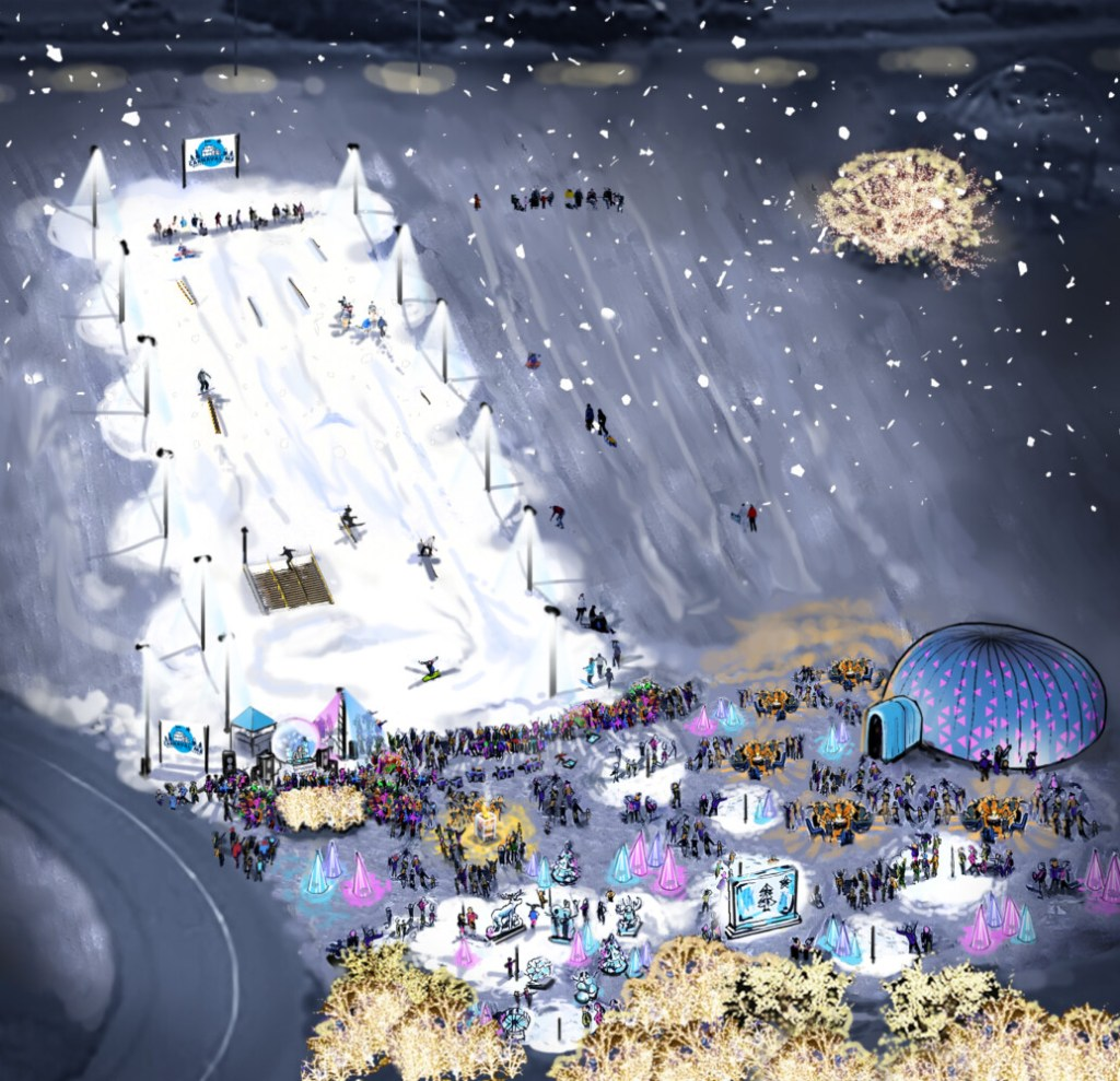 Artist's rendering of the site of Carnaval ME on the Portland's Eastern Promenade.