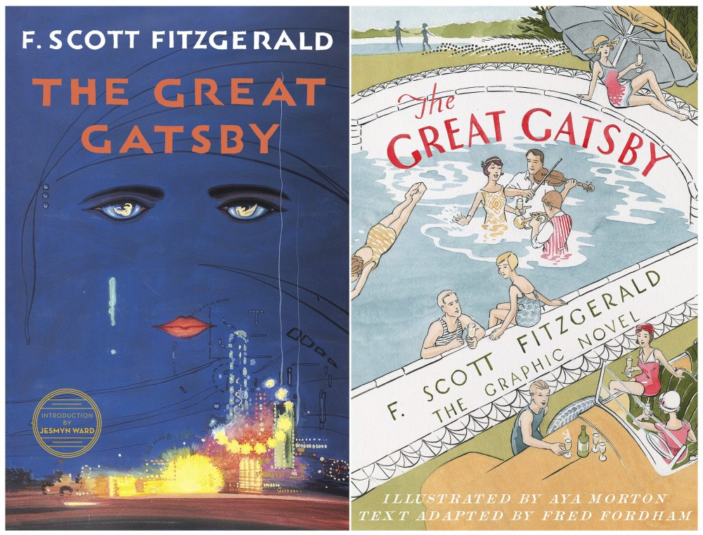 "This combination of cover images released by Scribner shows the 2018 cover image of the novel ""The Great Gatsby"" by F. Scott Fitzgerald, left, and ""The Great Gatsby: The Graphic Novel,""  with illustrations by Aya Morton and adapted text by Fred Fordham."
