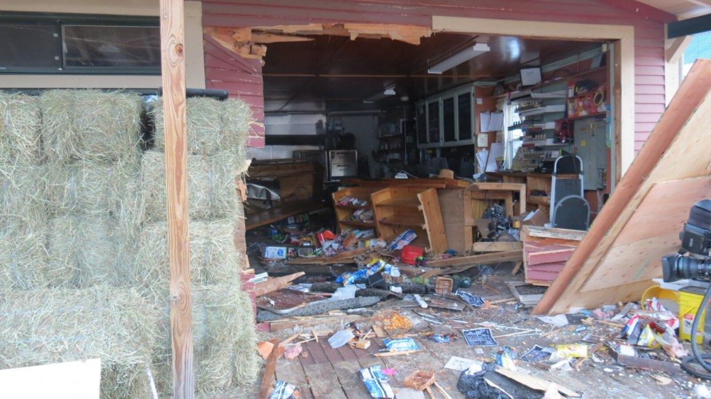 The Bolster Mills General Store in Otisfield was severely damaged Wednesday night when a pickup truck crashed through it.